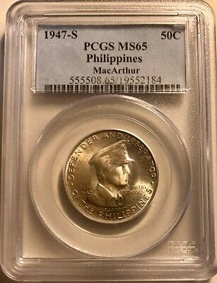 Philippines - Silver 50 Centavos - 1947S - General MacArthur - PCGS MS-65