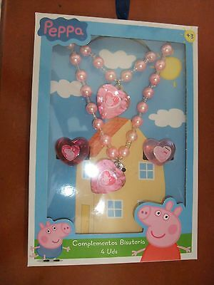 Peppa Pig Jewellery Gift Set AGE3+ NEW IN BOX 2XRINGS 1 NECKLACE 1 BRACELET PINK