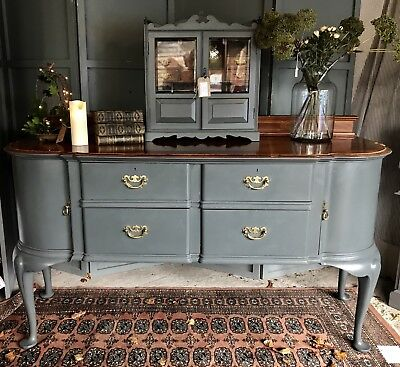 Antique 6ft Maple & Co Sideboard Painted In Farrow And Ball 'Downpipe'
