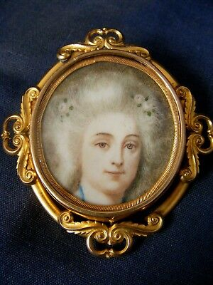 Antique Portrait Miniature Brooch of a Lady 19th Century