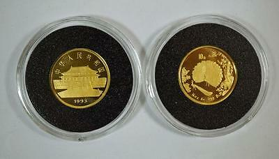 Two 1993 China 10 Yuan Gold Peacock Coins (2 Coins) | Chinese Gold (RC50)