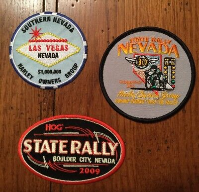 Harley Davidson Harley Owners Group Nevada HOG Patches Lot Of 3