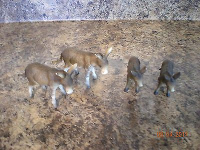 LOT OF 4 SCHLEICH GERMANY BROWN & WHITE DONKEYs