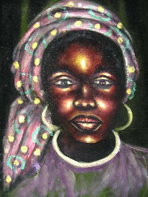 "OIL SIGHN.""KABE"" AFRICAN WOMAN*AFRICAN ART*50/60s*RARE ORIGINAL OIL PAINTING"