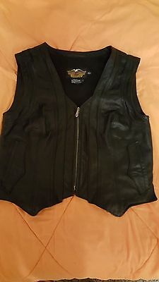Harley Davidson Women's Leather Vest SIZE LARGE WITH EMBOSSED ROSES ON THE BACK