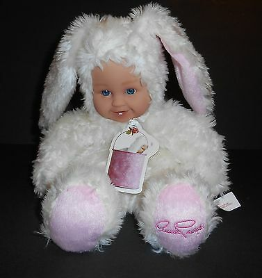 "Anne Geddes Signed Foot Baby Bunny White 10"" Doll 2002"
