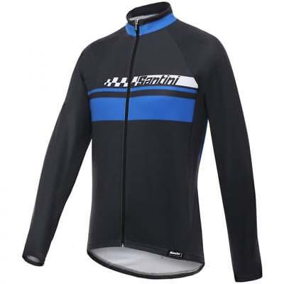 Santini Pilot Thermofleece Long Sleeve Mens Cycle Cycling Jersey - Blue