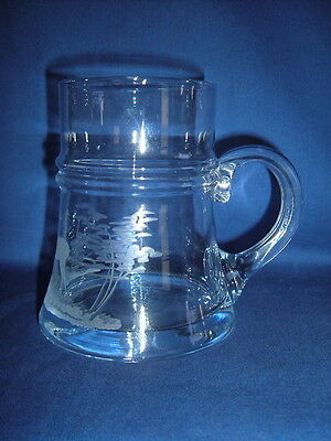 Antique Victorian Bohemian Glass Tankard - Engraved Stag