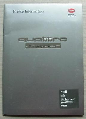AUDI QUATTRO SPYDER Car Press Kit Information Media Pack Photos Sept 1991