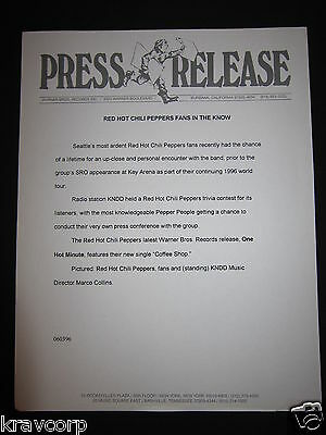 Red Hot Chili Peppers—1996 Press Release—'Kndd Trivia Contest'