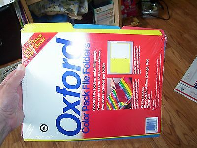 New Pack Of 15 Oxford Colored File Folders with self adhesive labels