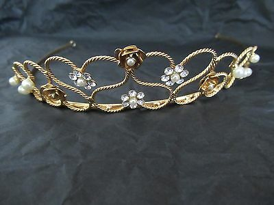 Linzi Jay Gold Tone, Diamante and Pearl Bridal Tiara/Headband.NEW