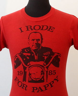 vintage 80s I RODE for PAPPY soft thin BIKER T SHIRT small HARLEY rocker