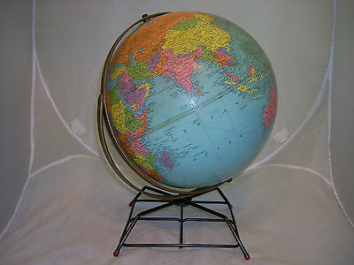 Vintage 12 Inch Replogle World Nation Reference Globe With Metal Stand