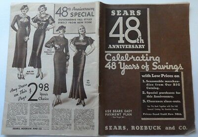 1934 Vintage SEARS CATALOG Fashions Lingerie Childrens Shoes Furniture 104 Pages