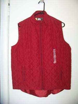 NWT Womens MAGELLAN Quilted Vest SZ XL Red NEW Zip Front