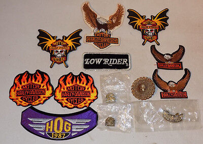 Vintage Lot Of 13 (3 New) Harley Davidson Motorcycles Iron On Patches & Pins M&m
