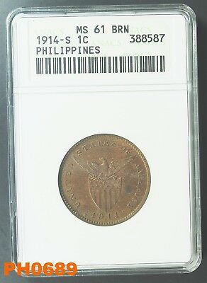 PHILIPPINES Centavo 1914-S ANACS small holder MS-61 Brown