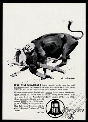 1953 steer and rodeo cowboy Fred Ludekens art Wrangler blue jeans vintage ad