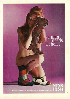 1968 vintage NUNN BUSH Shoes Boots, 60s Style Hippies almost Nude Model 062714