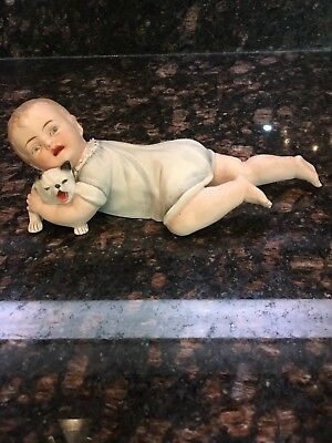 Antique German Heubach Piano Baby Crawling With Crying Cat In Arms