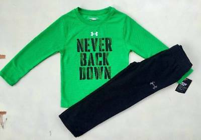 "Boy's Size 4 Under Armour ""never Back Down"" Green Shirt & Black Pants Outfit Nwt"