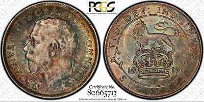 1919 Great Britain 6 Pence...PCGS AU-58...Stunningly Toned, Very Choice Example!