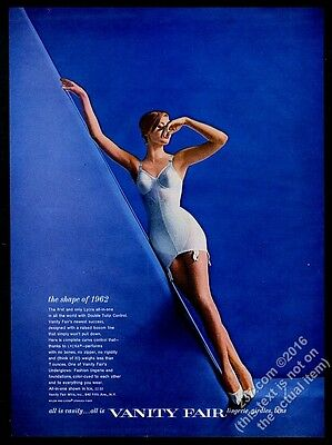 1962 Vanity Fair lingerie woman in blue all-in-one color photo vintage print ad