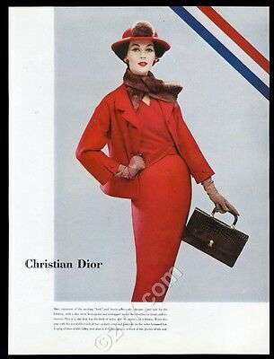 1956 Christian Dior women's red suit and hat fashion photo article