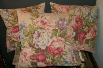Vintage Chic Shabby Pink Barkcloth Roses Pillows Cottage Priced Individually