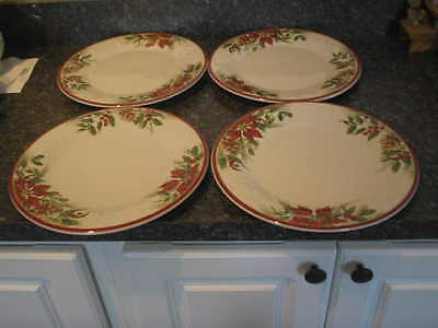 Longaberger Pottery Woven Tradition Set of 4 Natures Garland Dinner Plates