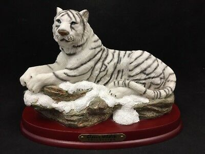 Classic Wildlife Collection Ceramic White Tiger Statue Figure On Wood Base-8.5""