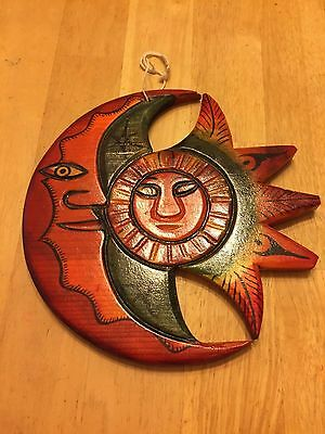 Vintage Mexican Moon & Sun Wood Carving Wall Decor / Hang - Free Shipping