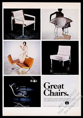 1968 Barcelona Chair Bertoia wire frame Florence Knoll modern vintage print ad