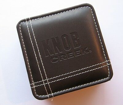 Knob Creek Leather Type Coasters Set of 4 with Case / Holder, Bourbon Jim Beam