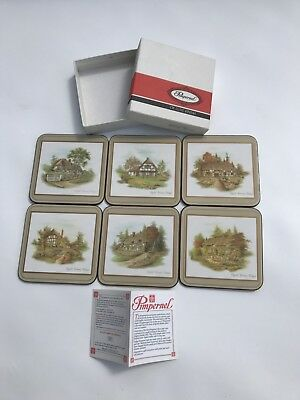 Set Of 6 Pimpernel Coasters Country Cottages De Luxe Finish Cork Back England