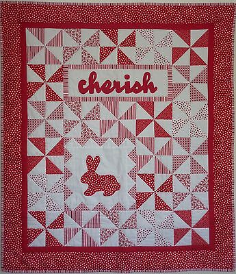 Handcrafted Handmade Cot Quilt Red and white New