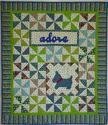 Handcrafted Handmade Cot Quilt Blues & Greens New