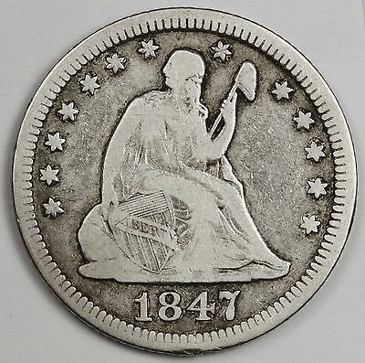 1847 Liberty Seated Quarter.  About Fine.  114100