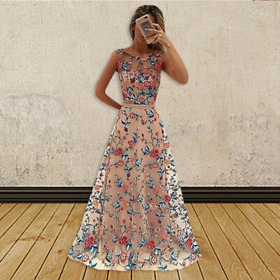Women Long Prom Lace Formal Evening Cocktail Party Bridesmaid Gowns Full Dress A