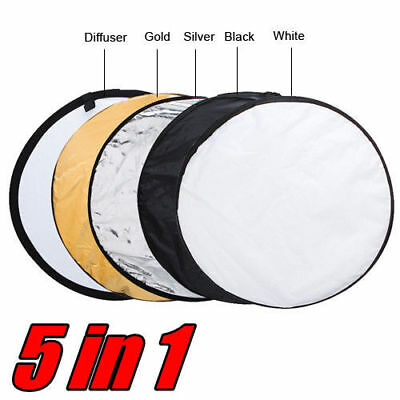 "80cm 5 in 1 Pro Photo Photography Light Mulit Collapsible Disc Reflector 32"" AU"