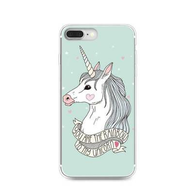 Lovely Unicorn Pattern Printed Thin Phone Case Cover For iPhone Samsung Huawei