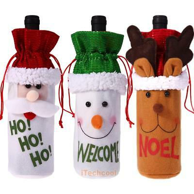Wine Bottle Cover Bag Christmas Xmas Dinner Table Decoration Santa Deer Snowman