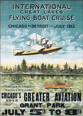 1913 CHICAGO DETROIT AVIATION GREAT LAKES FLYING BOAT VINTAGE POSTER REPRO 12x16