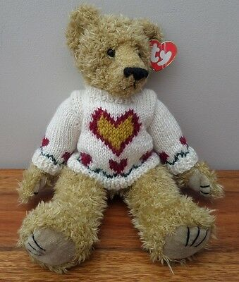 Adorable TY Attic Treasure 'HEARTLEY' the Bear. NWT. Heart Sweater