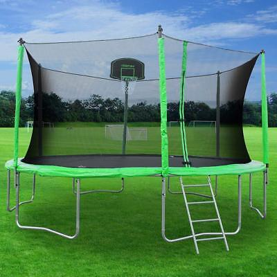 Merax 12FT Backyard Round Trampoline w/Safety Enclosure Basketball Hoop&Ladder