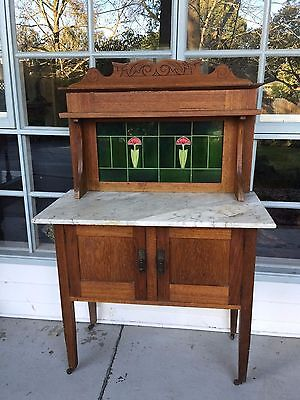 Antique Wash Stand w Marble Top & Tiled Back!