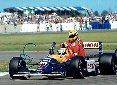 NIGEL MANSELL SIGNED Autograph Taxi For SENNA 16x12 Photo AFTAL COA