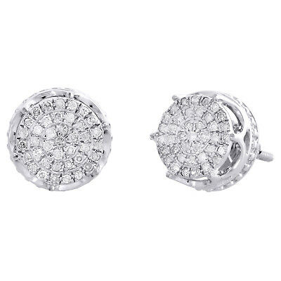 10K White Gold Real Diamond 6-Prong Sutds 9.50mm Mens 3D Pave Earrings 1/4 CT.
