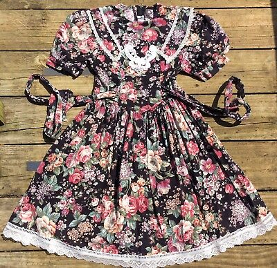 "Vintage Gunne Sax Little Girls Floral  And Lace Dress Sz 7 Rare Find 64"" Sweep"